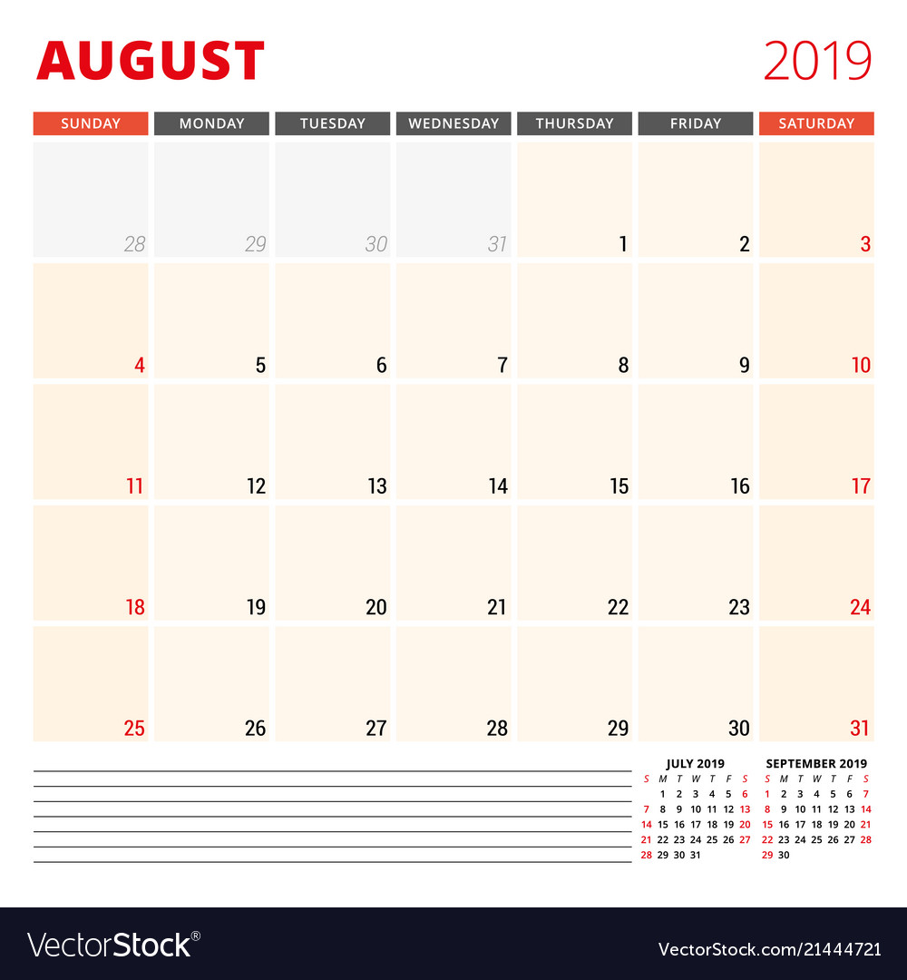 Calendar Planner 2019 Calendar planner template for august 2019 week Vector Image