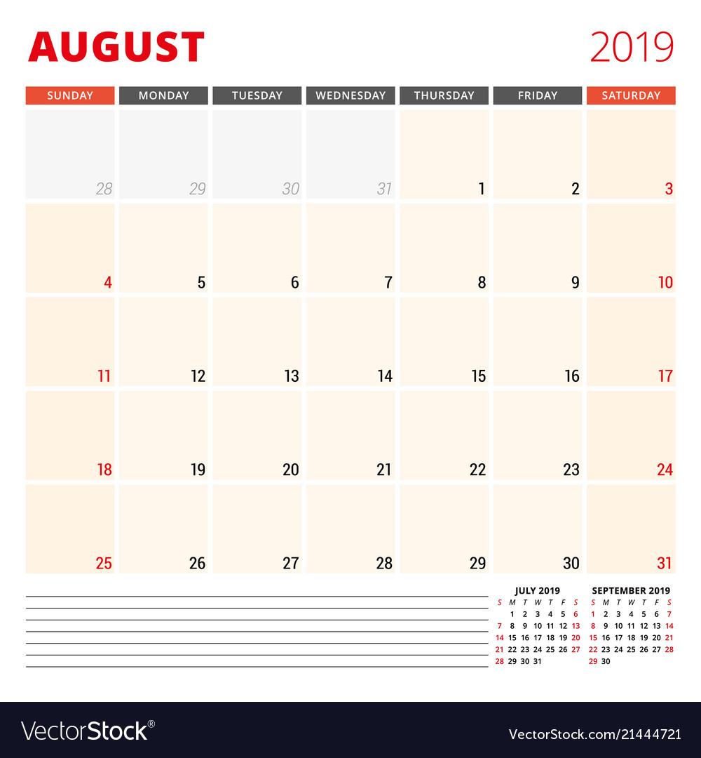 Calendar planner template for august 2019 week
