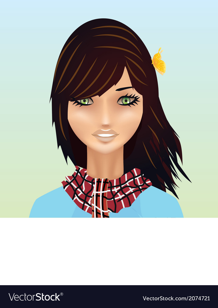 Cartoon Spring Girl with Butterfly vector image