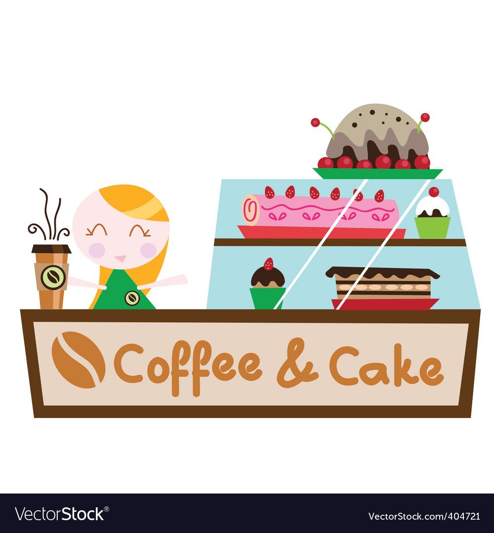 Coffee cake shop vector image