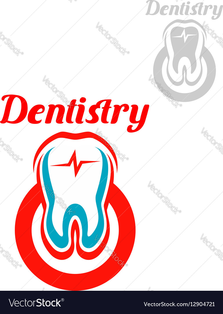 Dentistry icon or emblem of tooth symbol