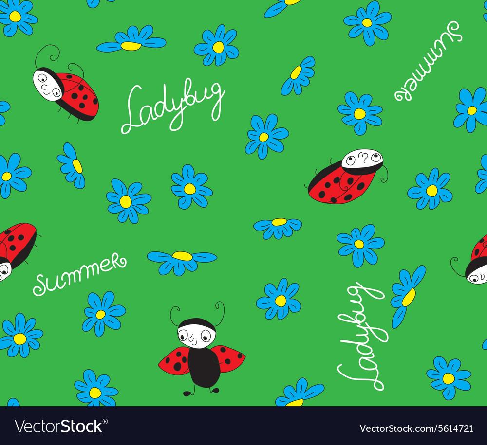 Ladybugs with blue flowers