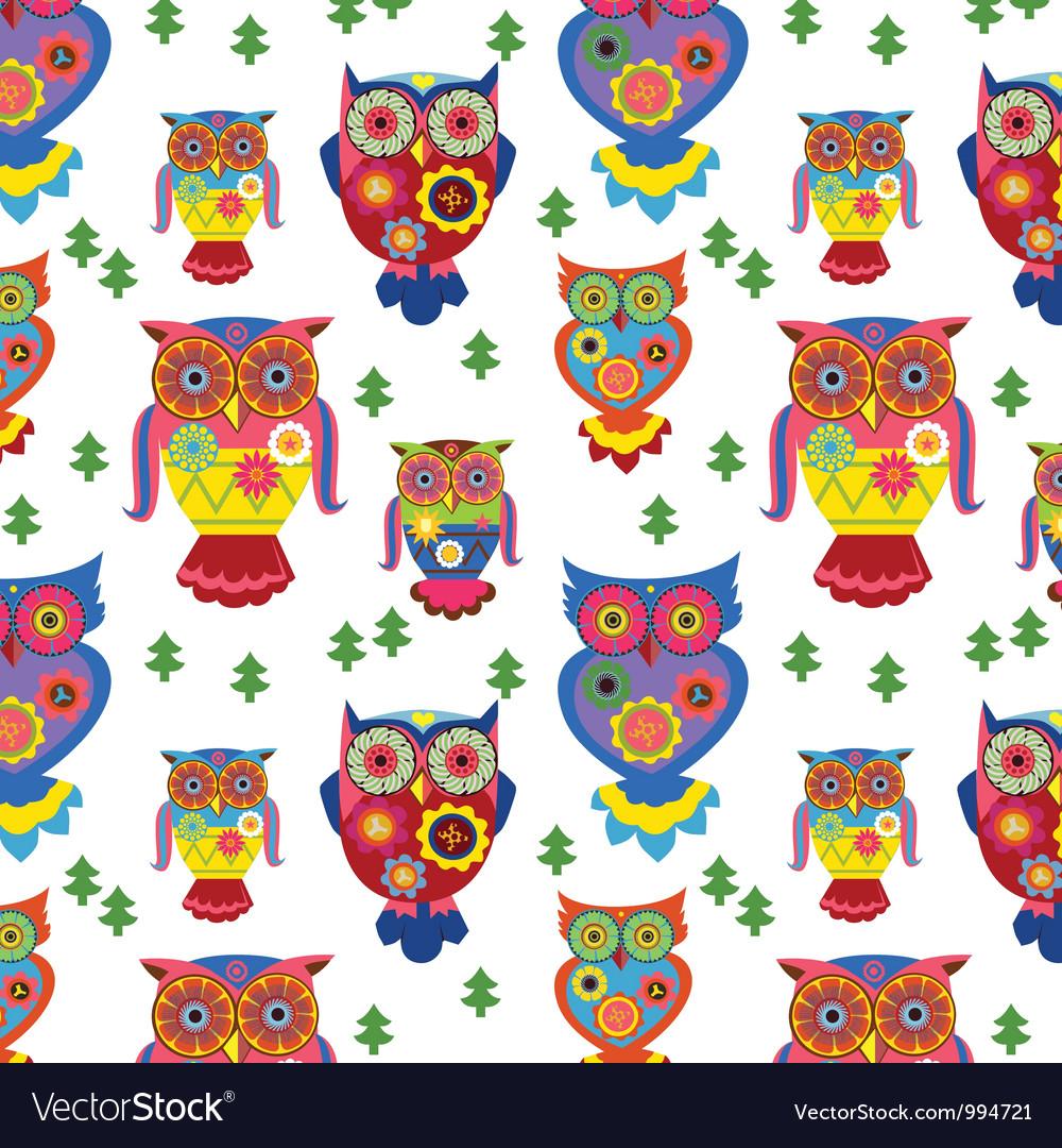 Seamless owls pattern 2