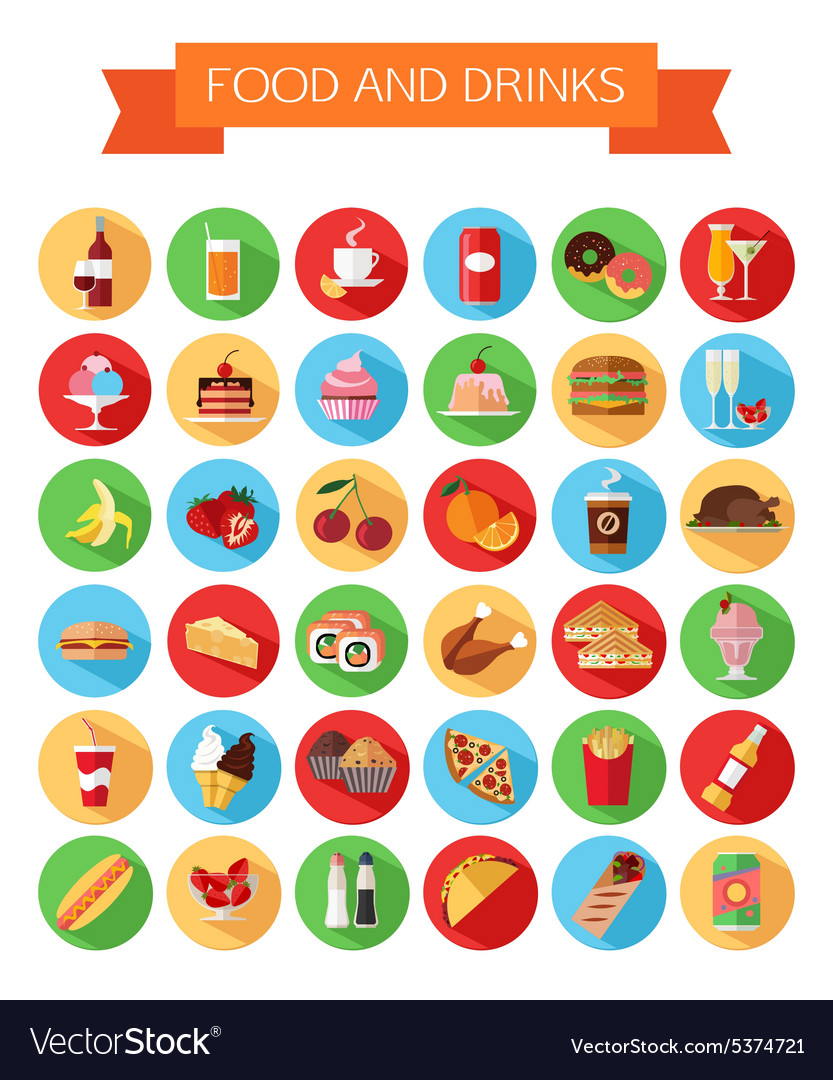 Set of colorful food and drinks icons Flat style