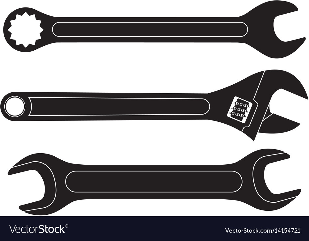 Set of wrenches black flat icons