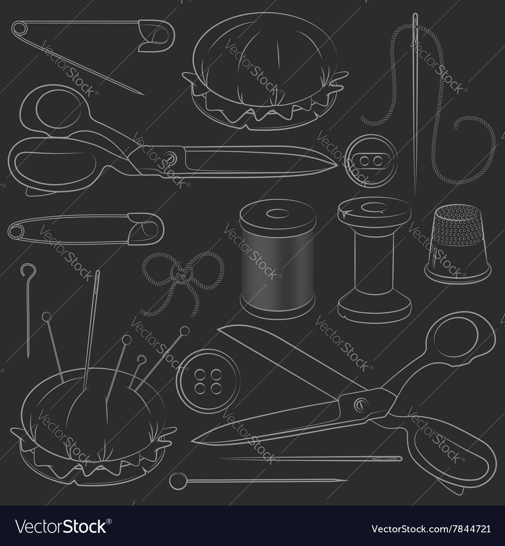 Set sewing supplies vector image