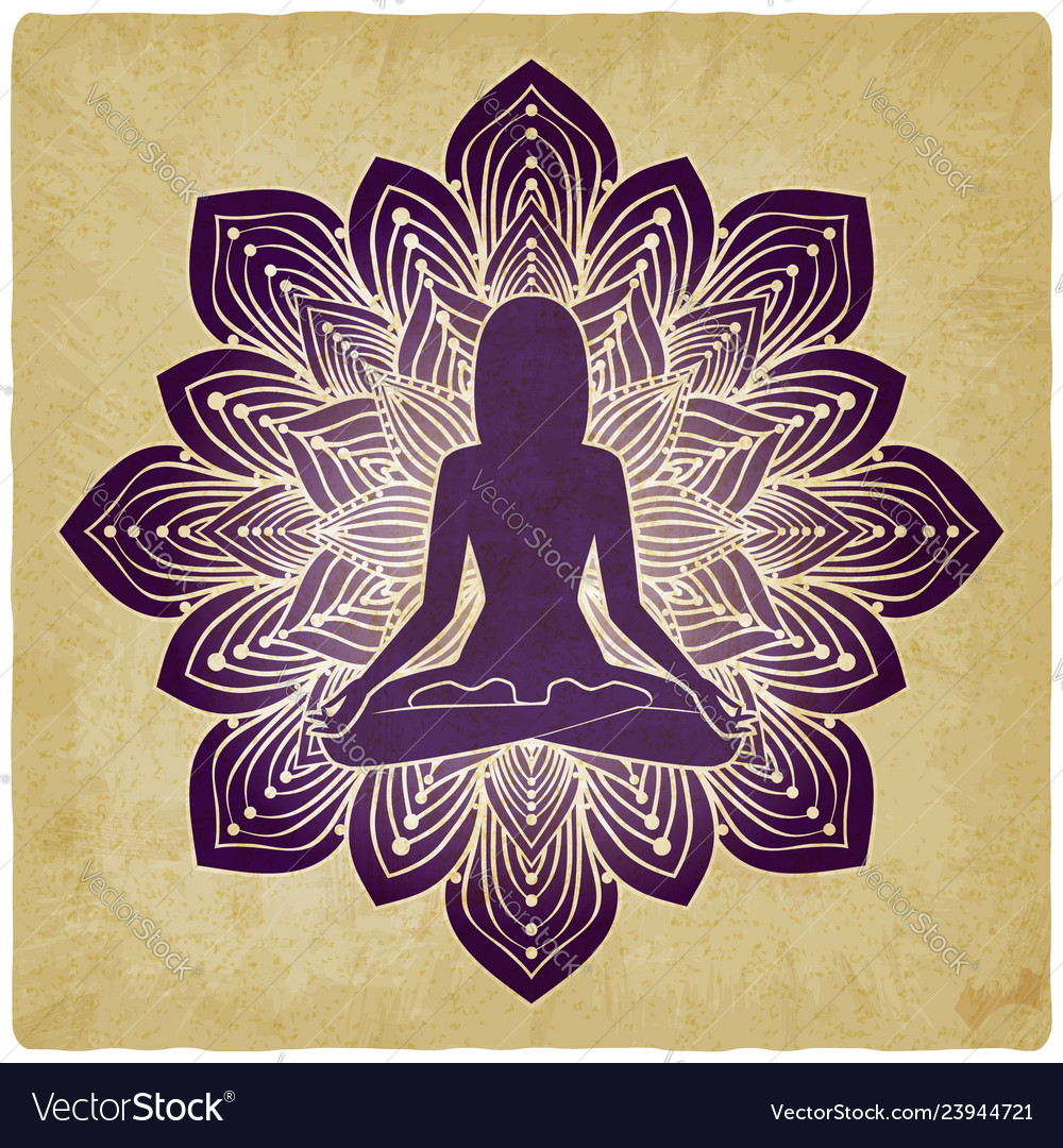 Silhouette girl in yoga pose on flower vintage