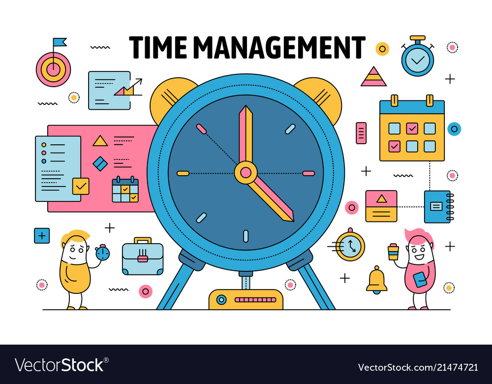 Thin Line Time Management Poster Banner Royalty Free Vector