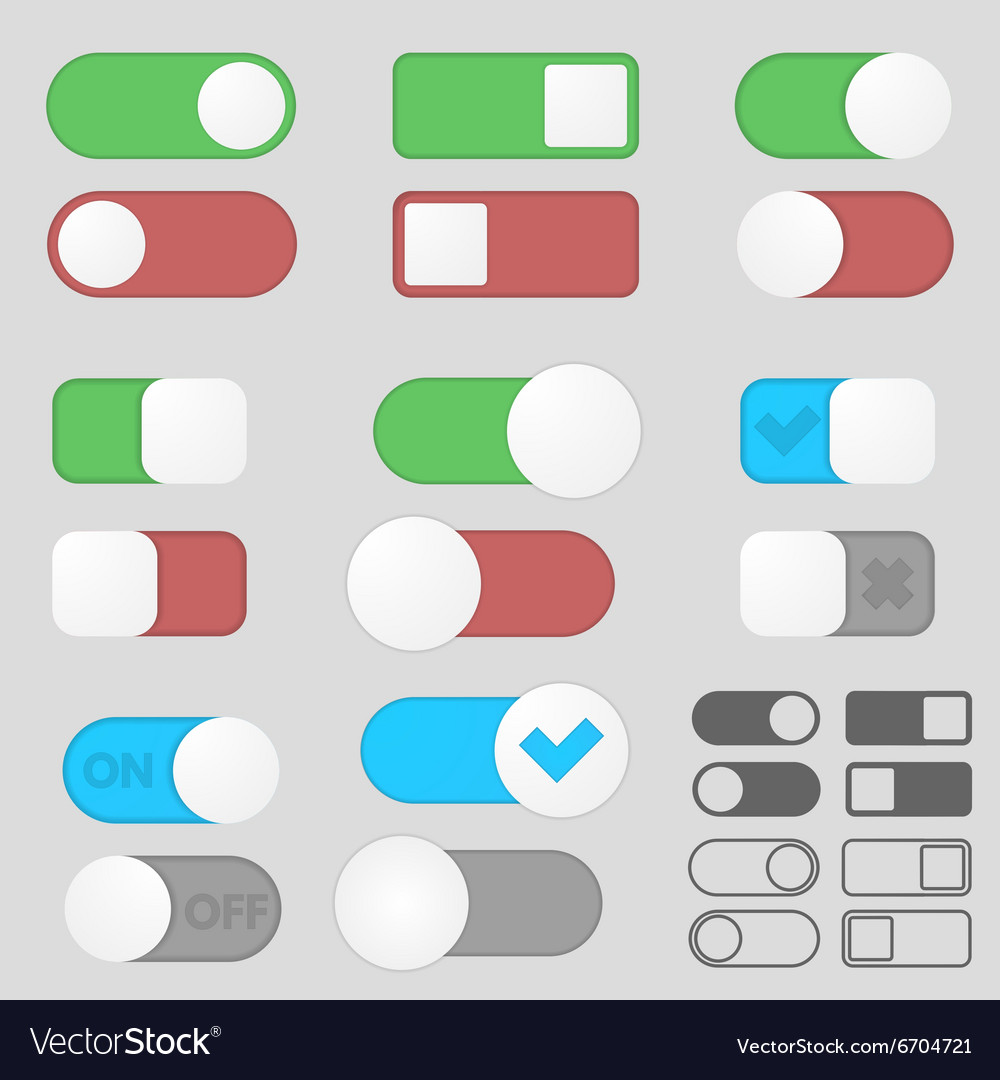 Toggle Switch Buttons Pack Royalty Free Vector Image
