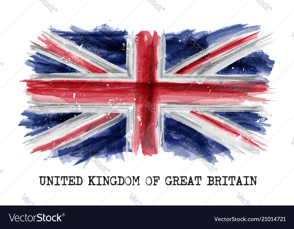 Watercolor painting flag of united kingdom