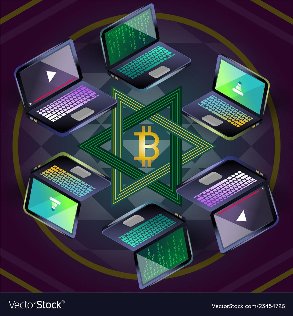 Bitcoin group of six laptops on sri yantra
