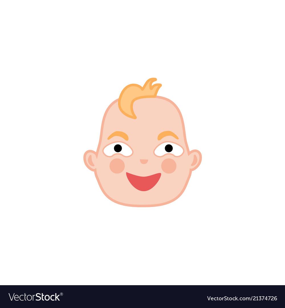 Cartoon newborn infant baby happy face