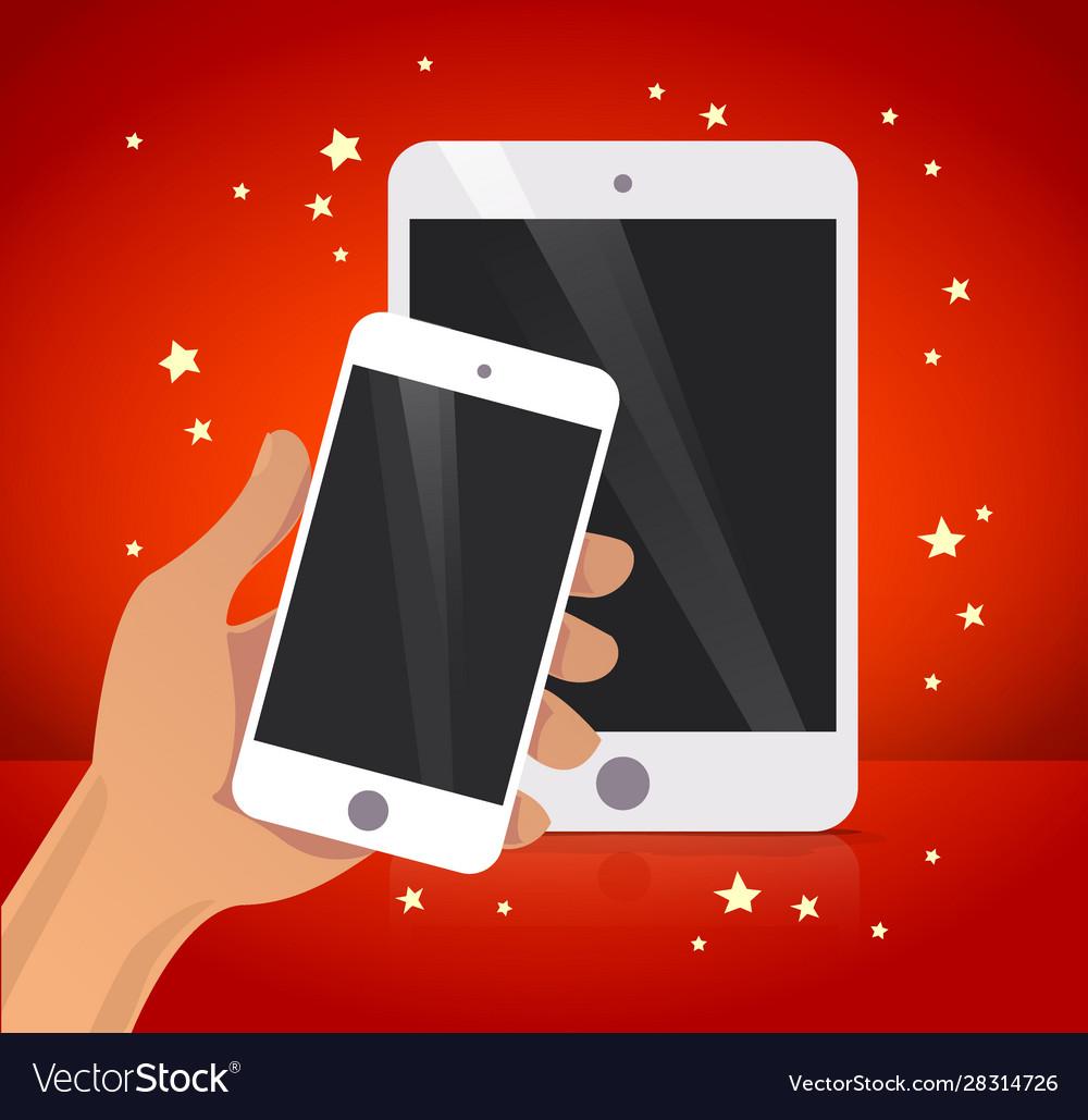 Flat human hand holding smartphone cartoon style