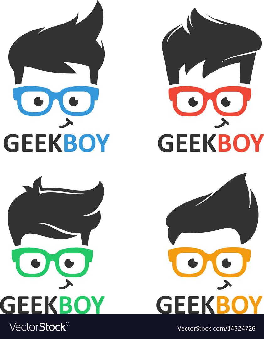 Geek or nerd logo set vector image