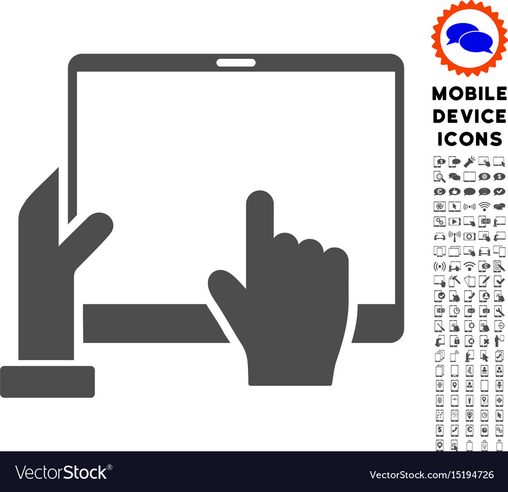 Hand points pda icon with set vector image