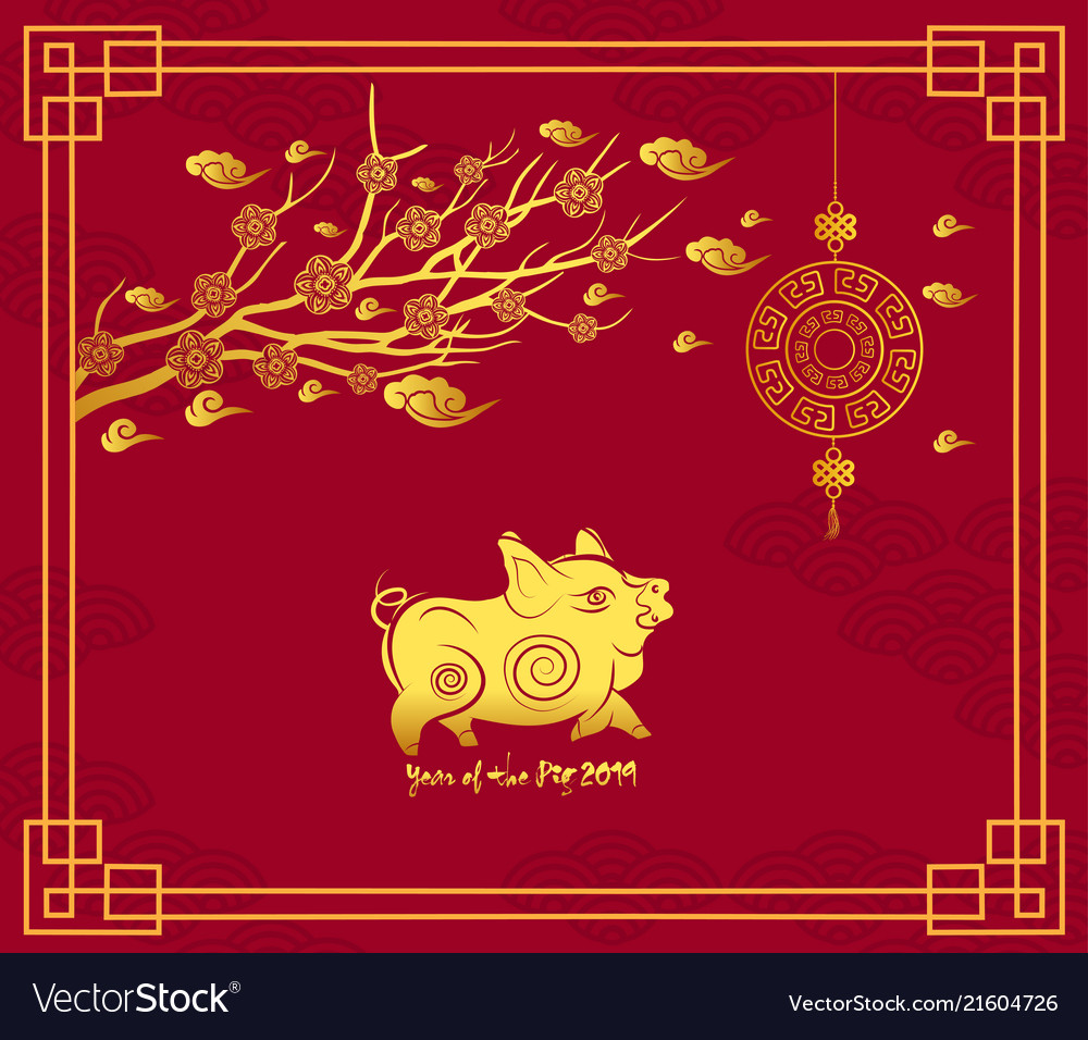 Happy Chinese New Year 2019 Card With Pig Blossom Vector Image