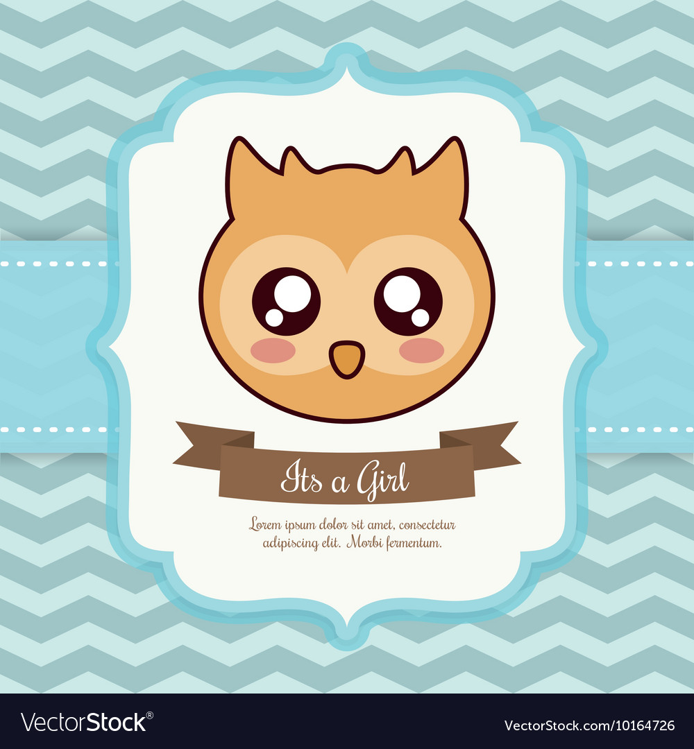 Kawaii Owl Baby Shower Design Graphic Royalty Free Vector