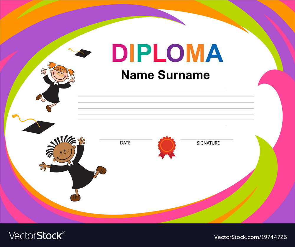 snap kids diploma certificate background design vector