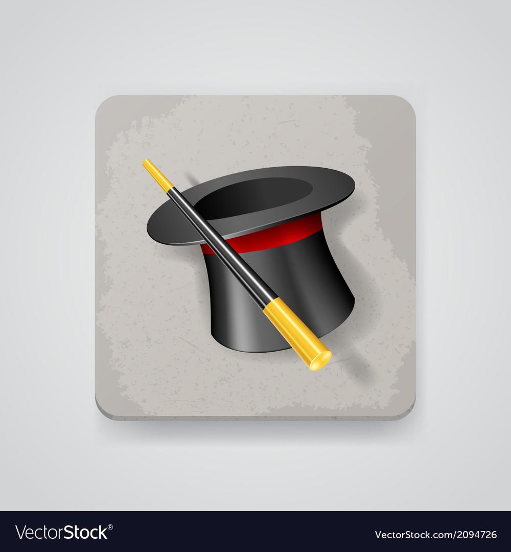 Magic hat and wand icon