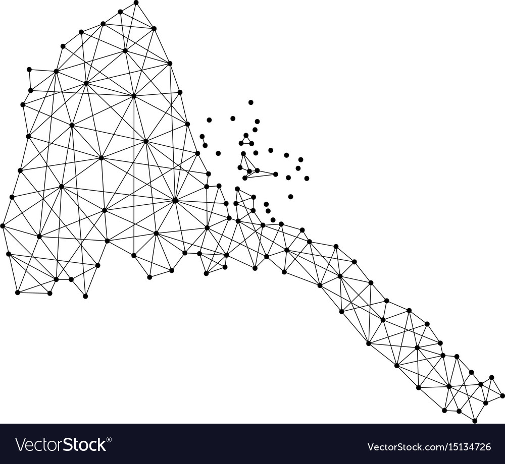 Map of eritrea from polygonal black lines and dots vector image