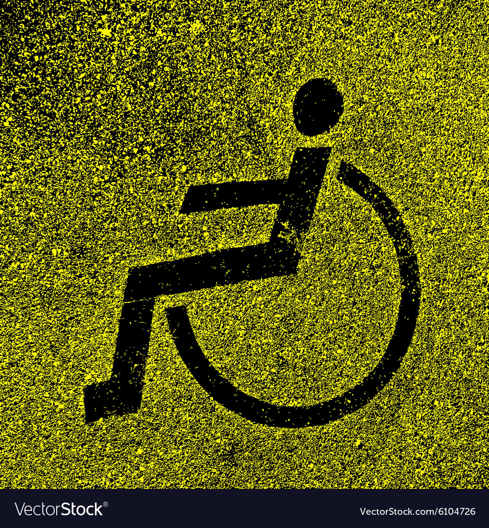 Parking places with disabled signs on asphalt