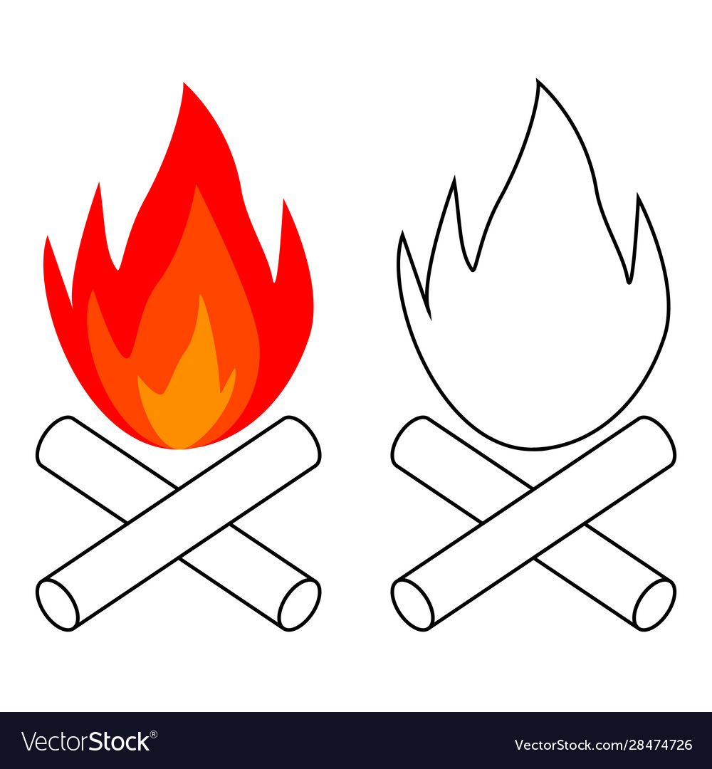 Simple bonfire icon burning logs campfire