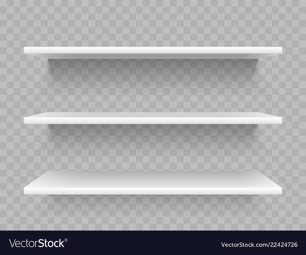 White empty product shelves supermarket display