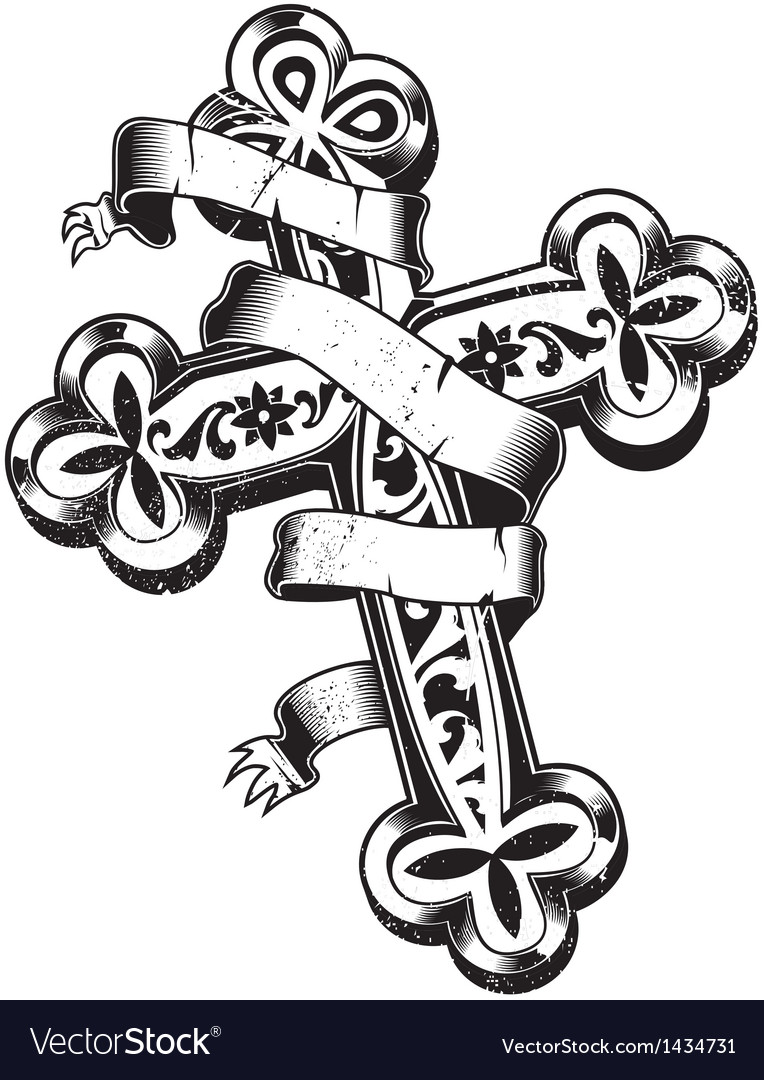 Ancient cross with ribbon around vector image