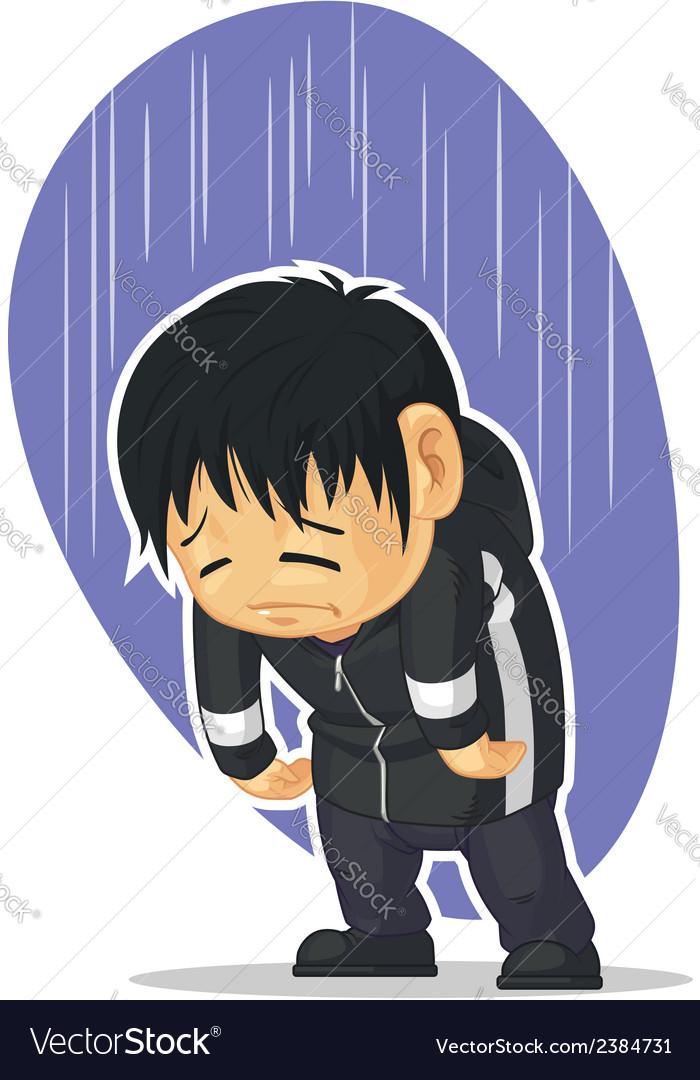 Cartoon Of Sad Boy Royalty Free Vector Image Vectorstock