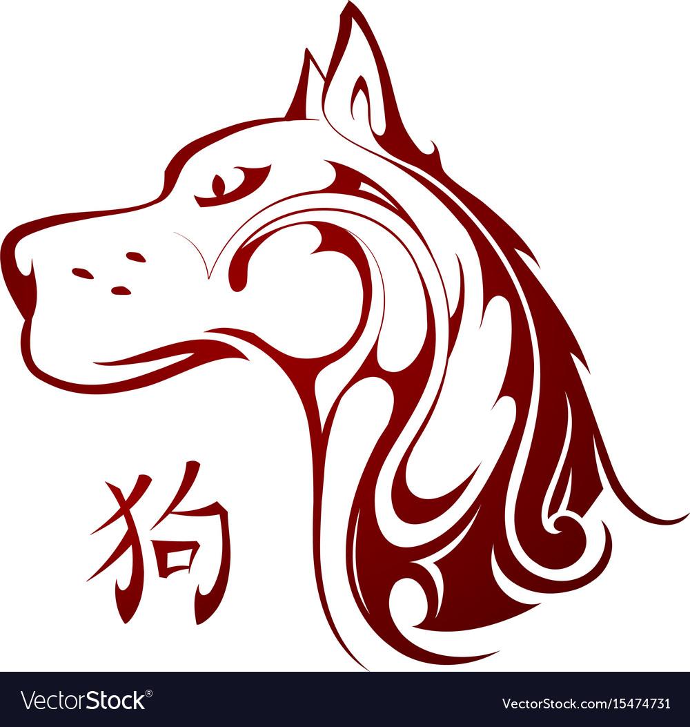 Chinese new year 2018 dog tattoo emblem vector image