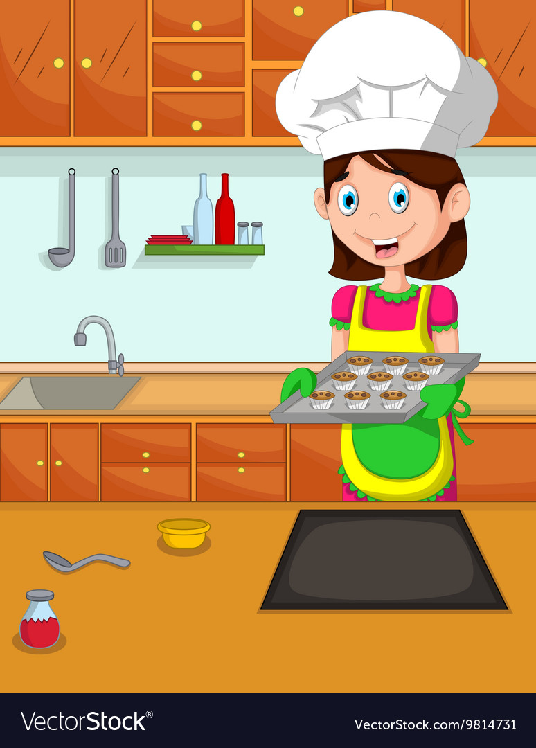 Cute Mom Cartoon Cook In The Kitchen Royalty Free Vector