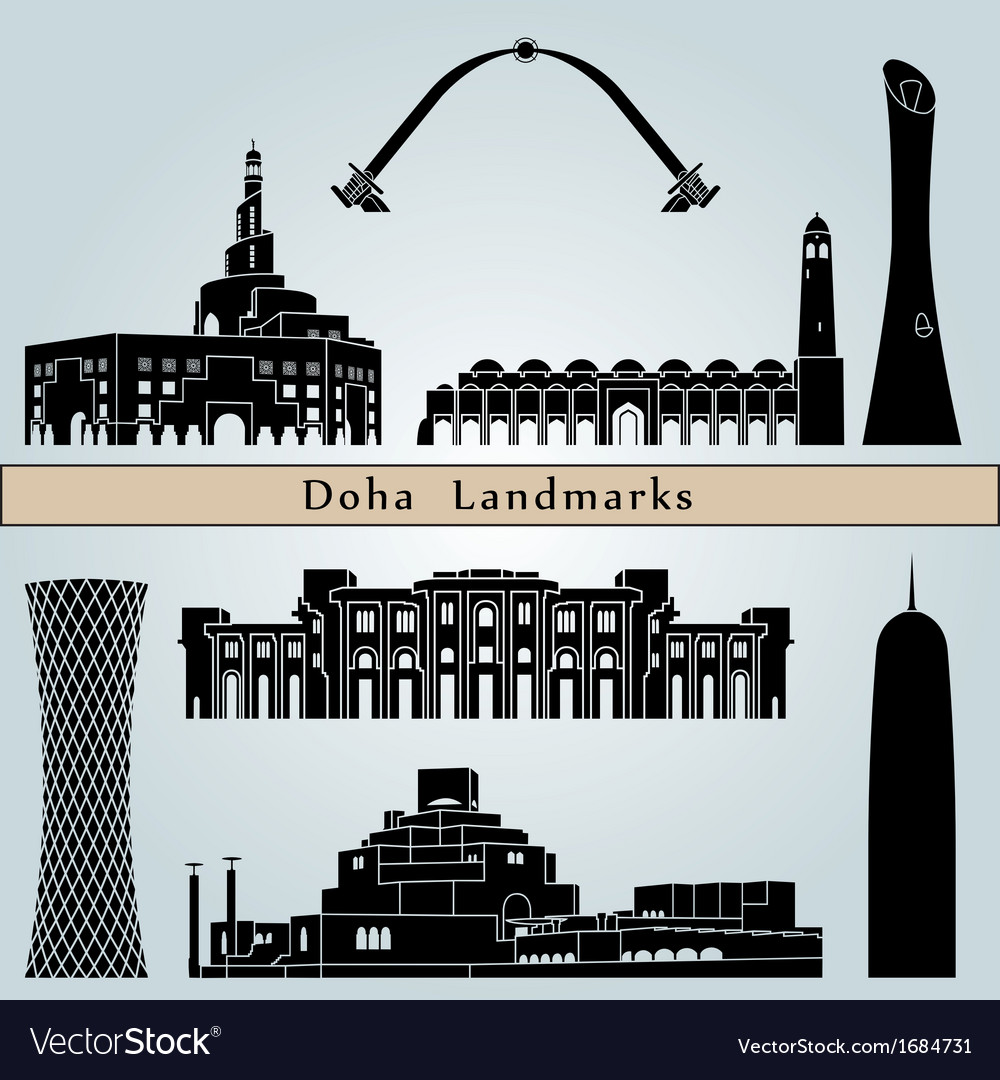 Doha landmarks and monuments vector image