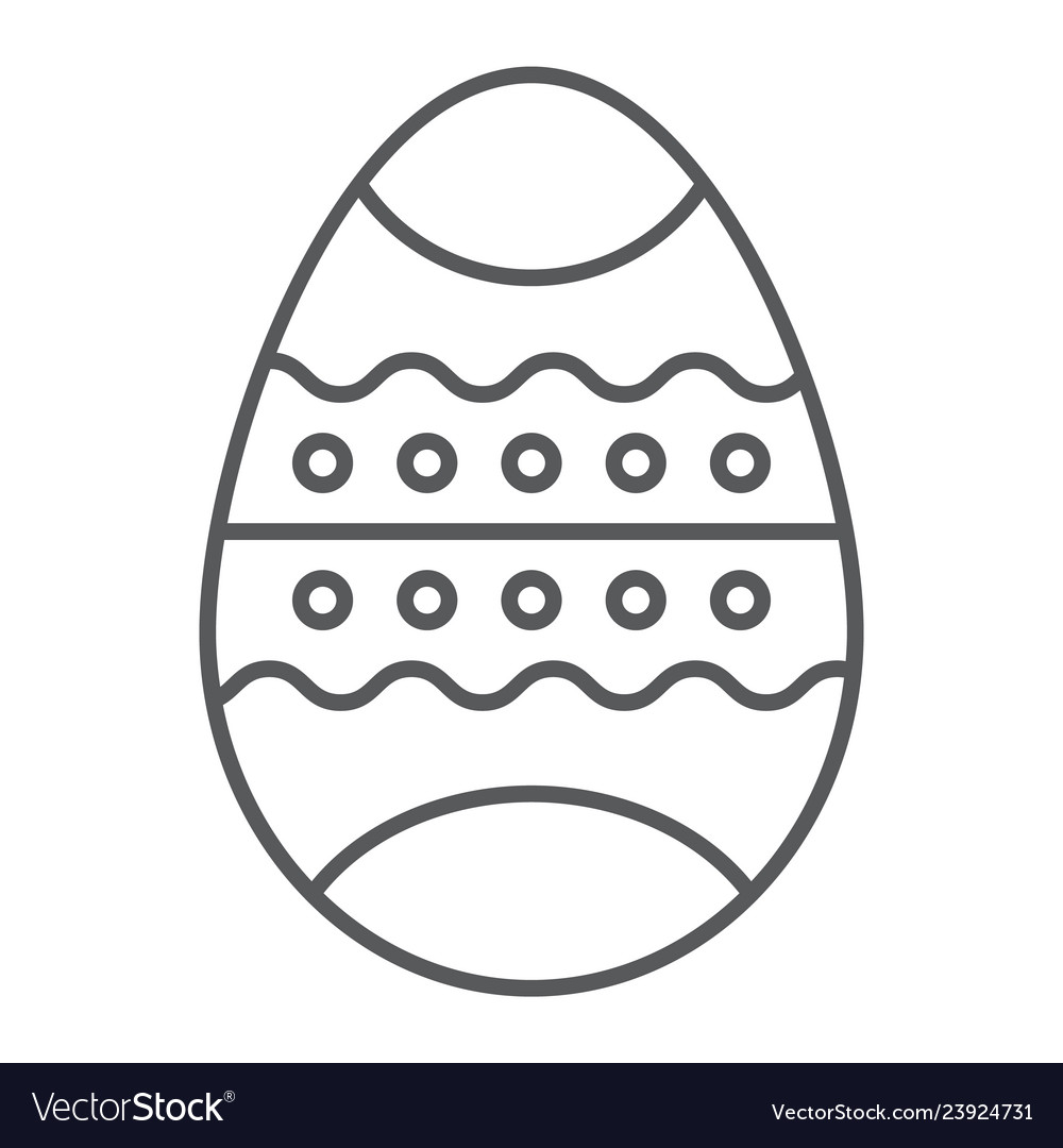 Easter egg thin line icon decor and easter