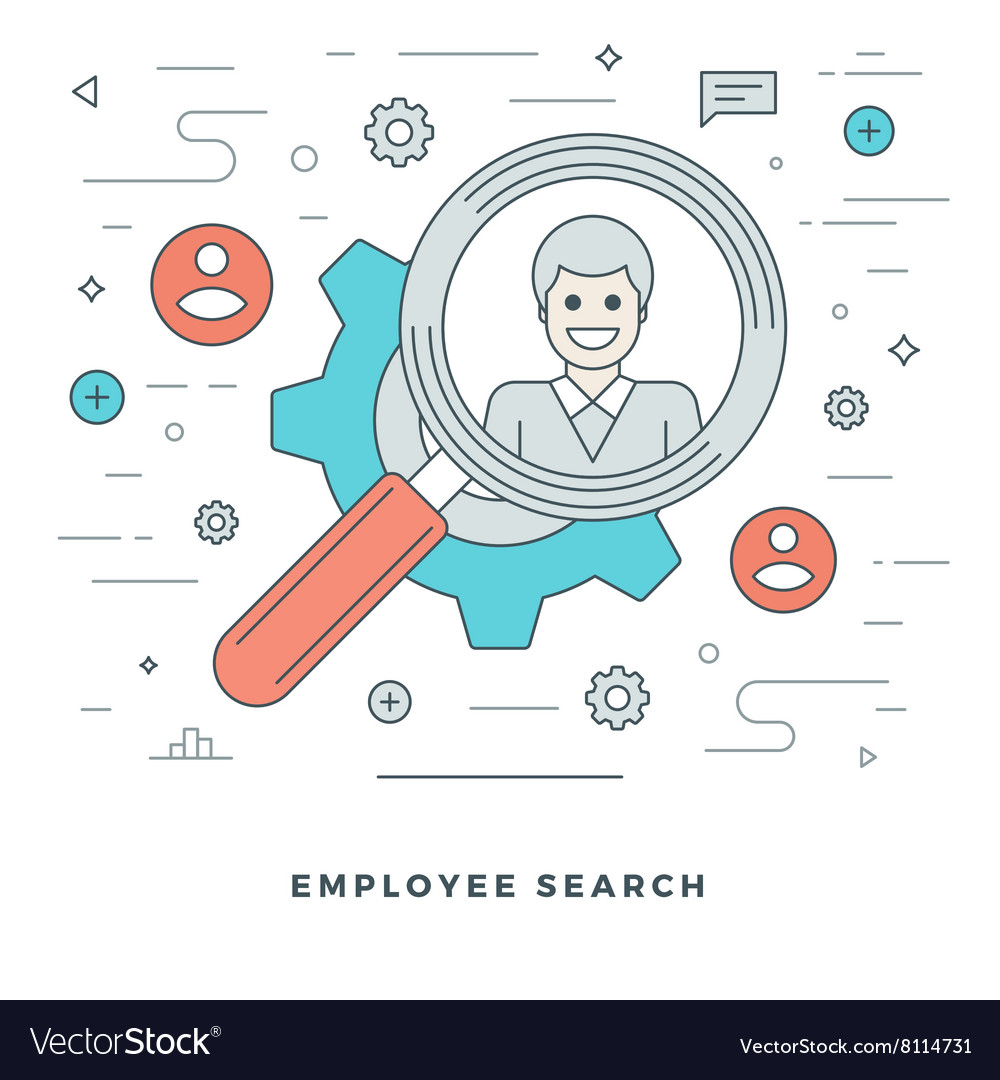 Flat line Business Team Employee Search