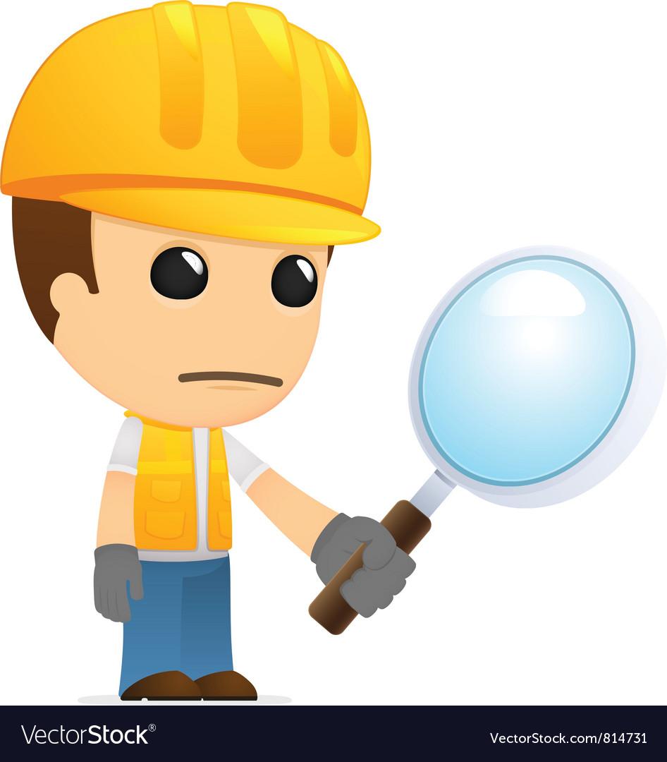 Funny cartoon builder vector image