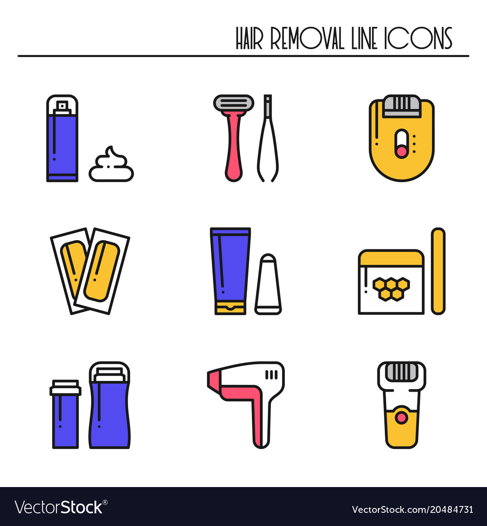 hair removal methods line icons set shaving vector imageShaving Hair Removal Diagram #19