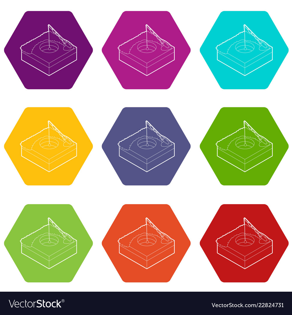 Hole For Ice Fishing Icons Set 9 Royalty Free Vector Image