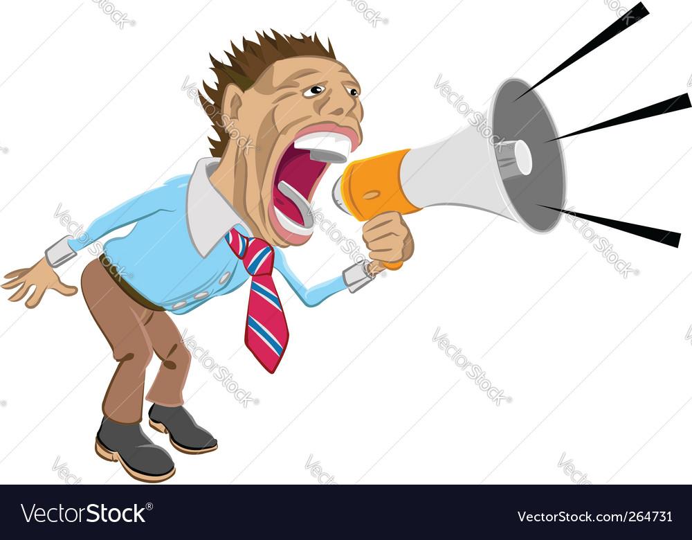 Man shouting into megaphone vector image
