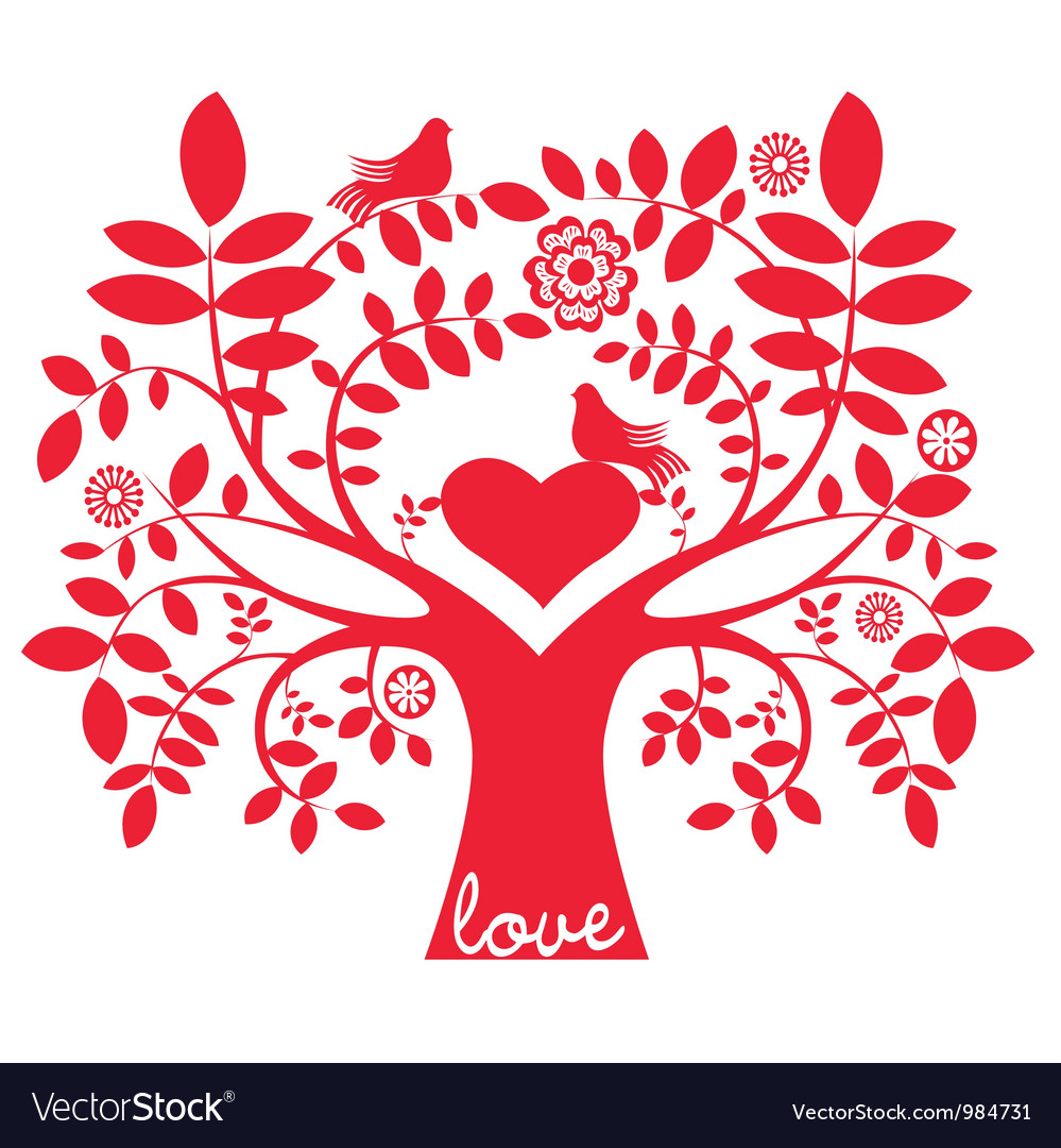 One color love message tree with birds
