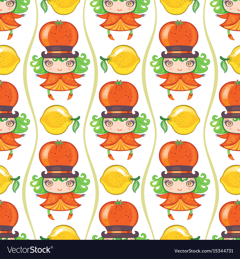 Seamless colorful pattern with cute little girl