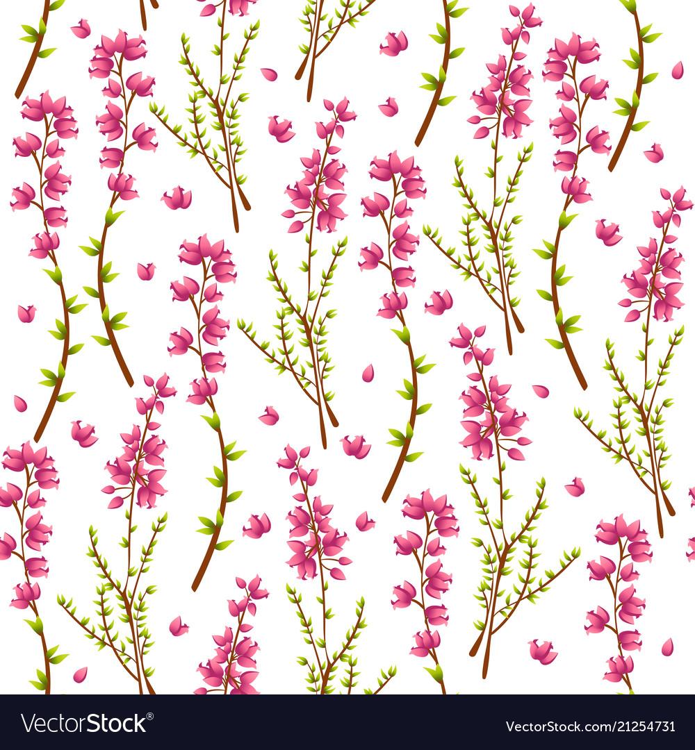 Seamless pattern with heather or calluna vulgaris