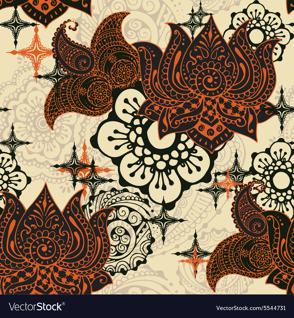 Seamless pattern with Indian ornaments