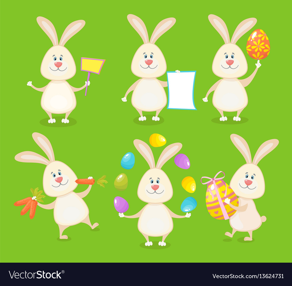 Set cute easter rabbits with easter eggs and