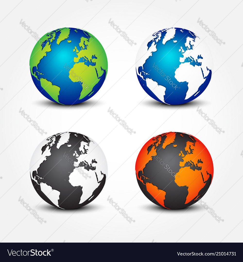 Set of global in different color 4 seasons