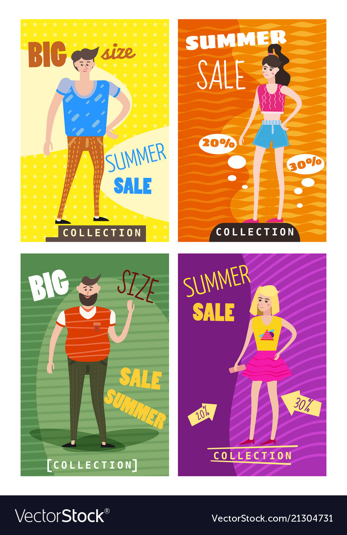 Set of sale cards of young men s and women s