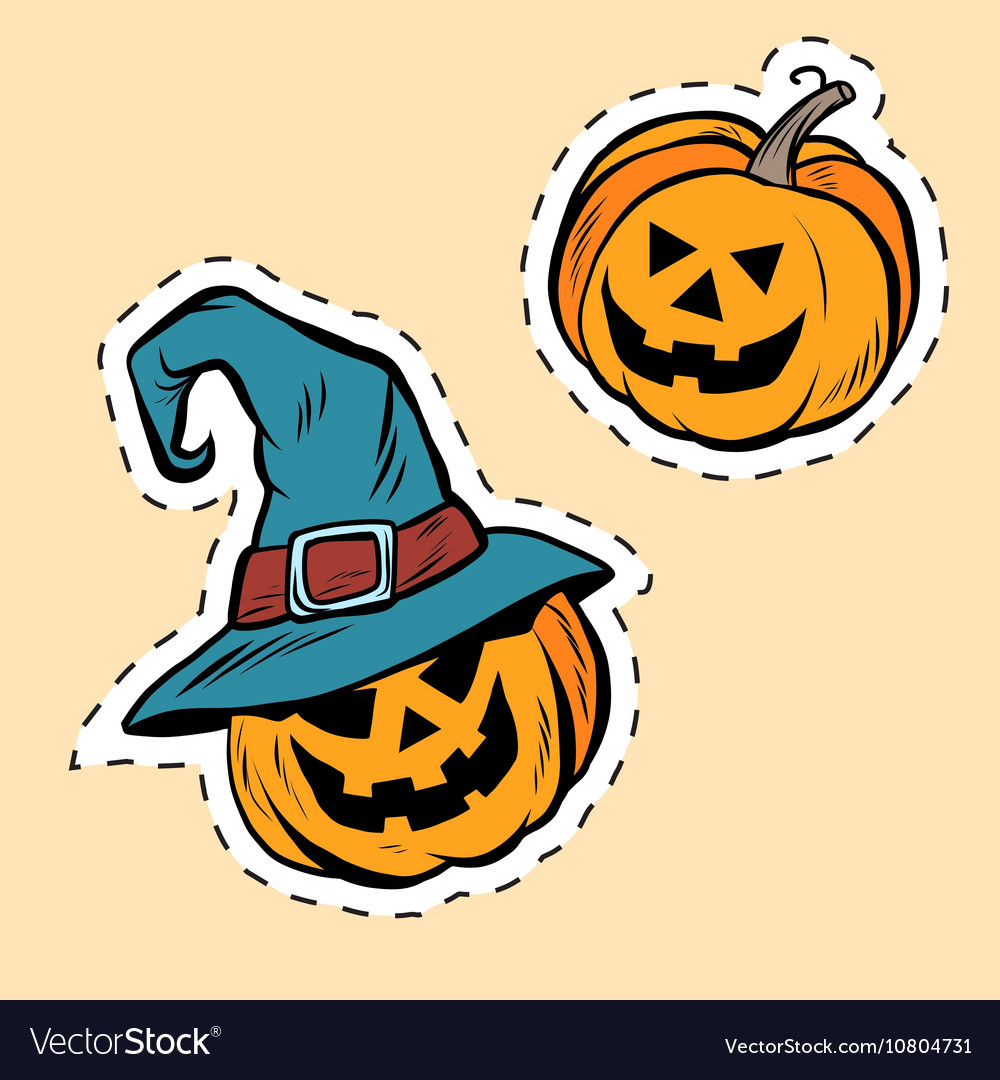 Set of stickers Halloween evil pumpkin