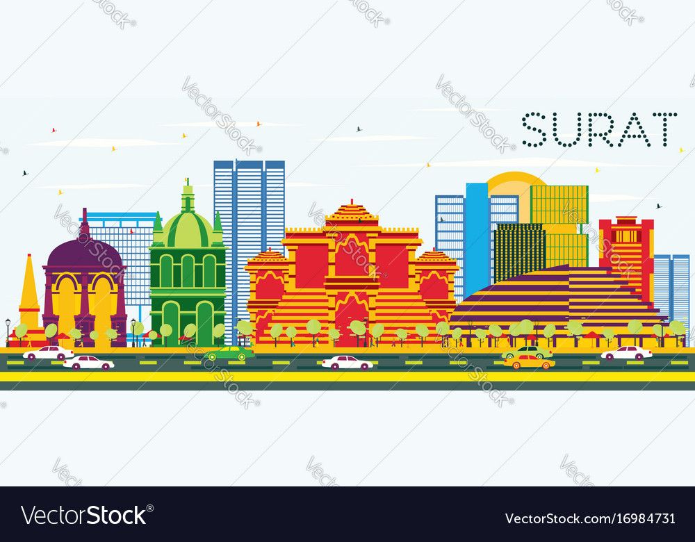 Surat Skyline With Color Buildings And Blue Sky