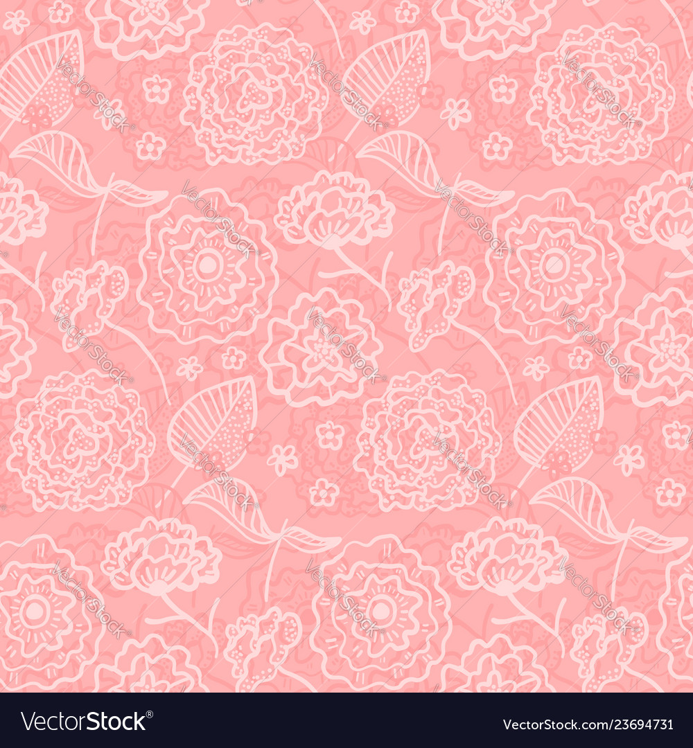 Tender coral pattern with outline spring flowers