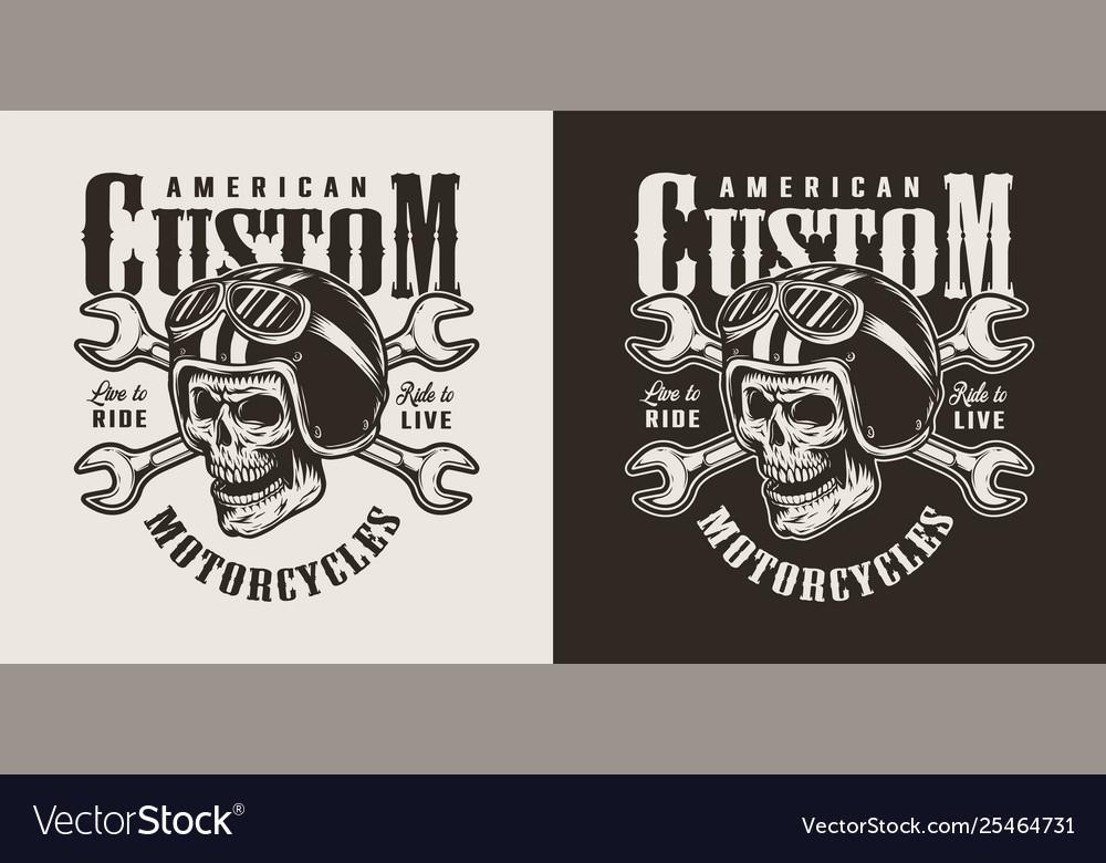 Vintage Monochrome Custom Motorcycle Shop Logo Vector Image