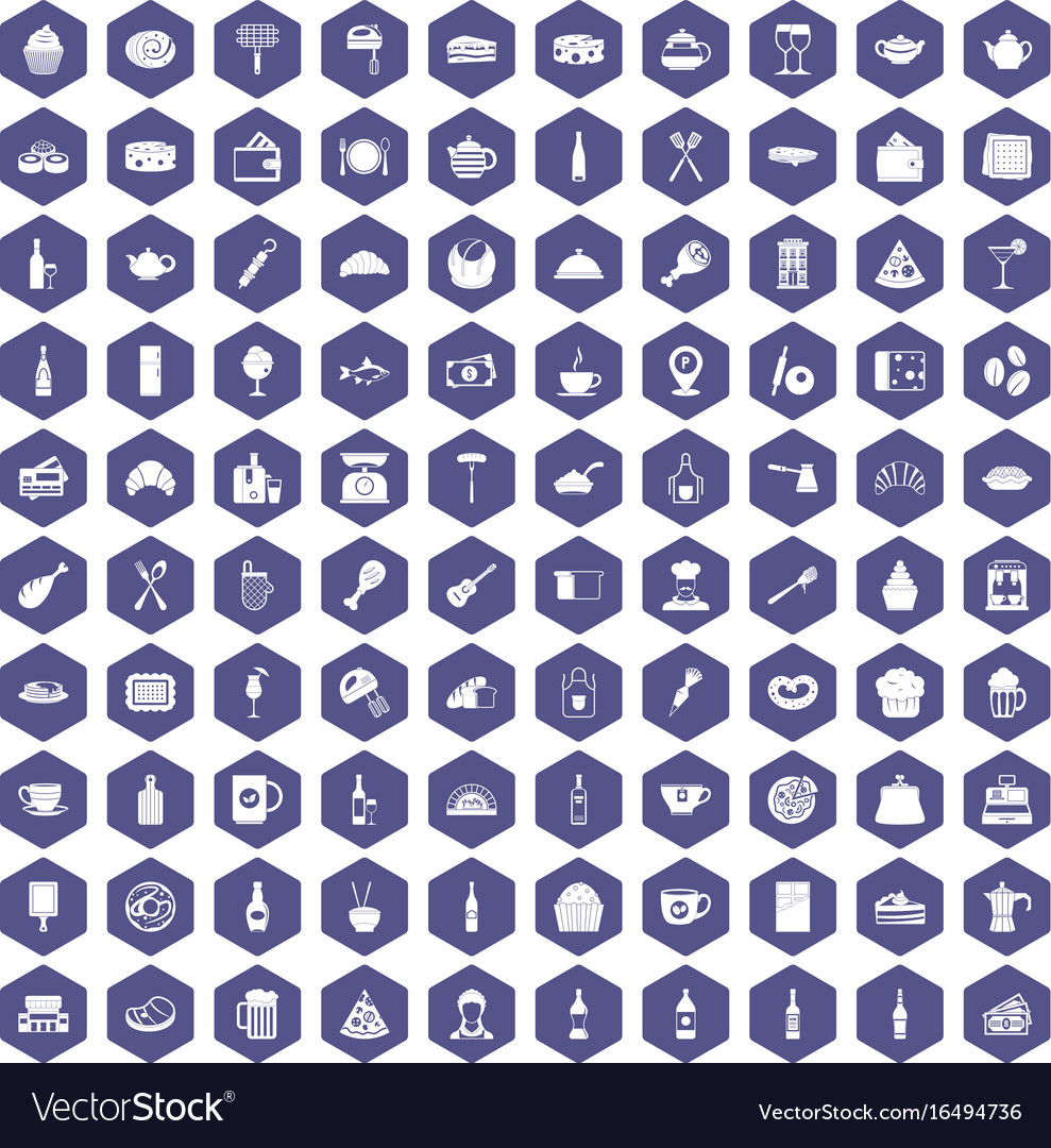 100 restaurant icons hexagon purple vector image